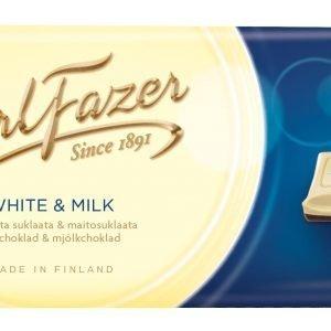 Fazer Valkoinen Ja Maitosuklaa 100 G Suklaalevy