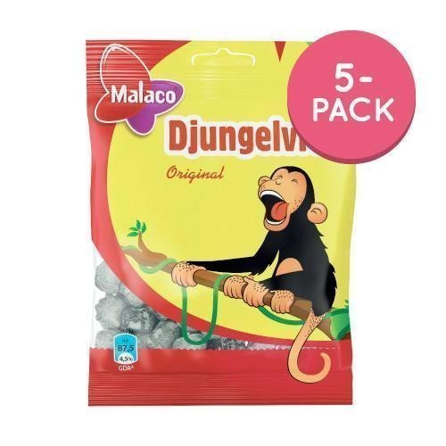 Malaco Salmiakkiapinat / Djungelvrål 5-pack 5 x 80g